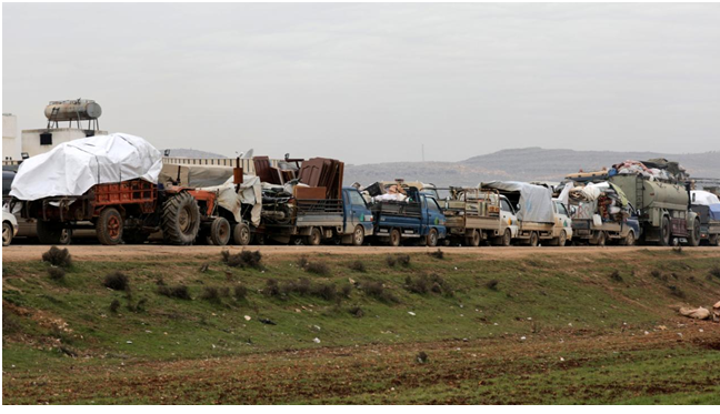 Endlose Flüchtlings-Tracks. In den syrischen Provinzen Aleppo und Idlib sind Hunderttausende auf der Flucht